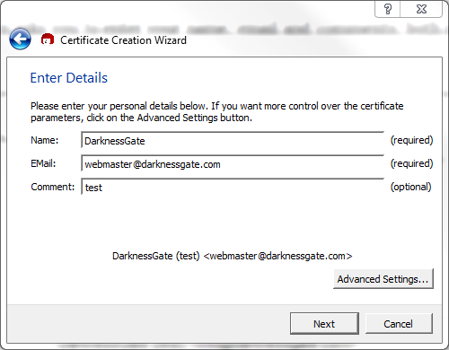 Figure 9: Entering Certificate details - comments are optional
