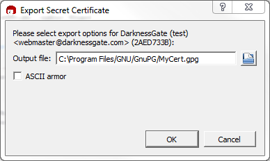 Figure 12: Create a Backup of your certificate
