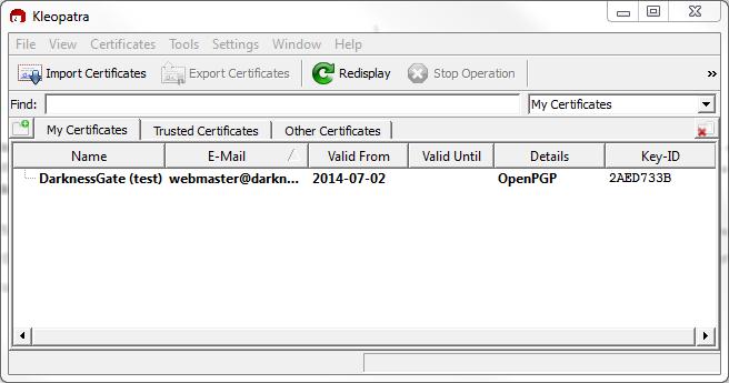 Figure 13: My new certificate appears in main Kleoptra program