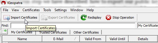 Figure 17: Click Import Certificates to import new certificates to Kleopatra Program