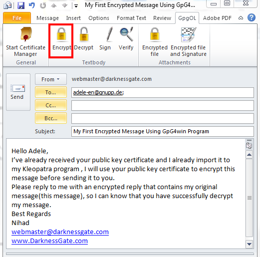 Figure 20: Create new Email using Outlook 2010 and encrypting it using GpG4win Add -in