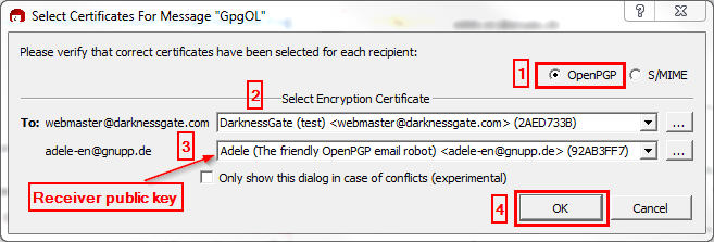 Figure 21: Select signing type and Encryption Certificate