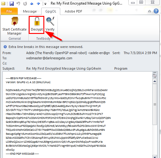 "Figure 23: Click the ""Decrypt"" button in GpgOL tab in Outlook message to decrypt an encrypted email"