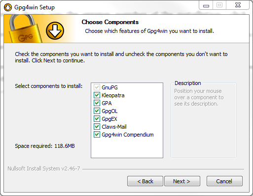 Figure 4: Select the GpG4win Components that you want to install