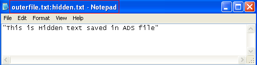 Figure 6: hidden.txt opened using notepad from command line